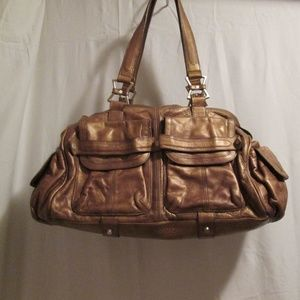 Gold tone Junior Drake satchel handbag